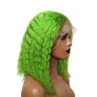 Green Colored Lace Front Human Hair Wigs For Women Black Transparent Deep Curly Wig Short Hair PrePlucked Remy Hair Prosa