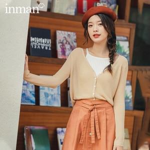 Image 2 - INMAN 2020 Spring New Arrival Minimalist Elegant Style V Neck Single Breasted Fitting Slightly Elastic Cardigan Knitwear Sweater