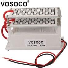 Generador de ozono con doble placa cerámica, ozonizador para agua, esterilizador de aire, tratamiento purificador, generador de ozono integrado, 20g, 220V
