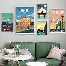 Pósteres e impresiones artísticos de pared de viaje de la Capital alemana Berlin cuadros de pared Vintage Kraft postdecoración cuadros Gife sin marco