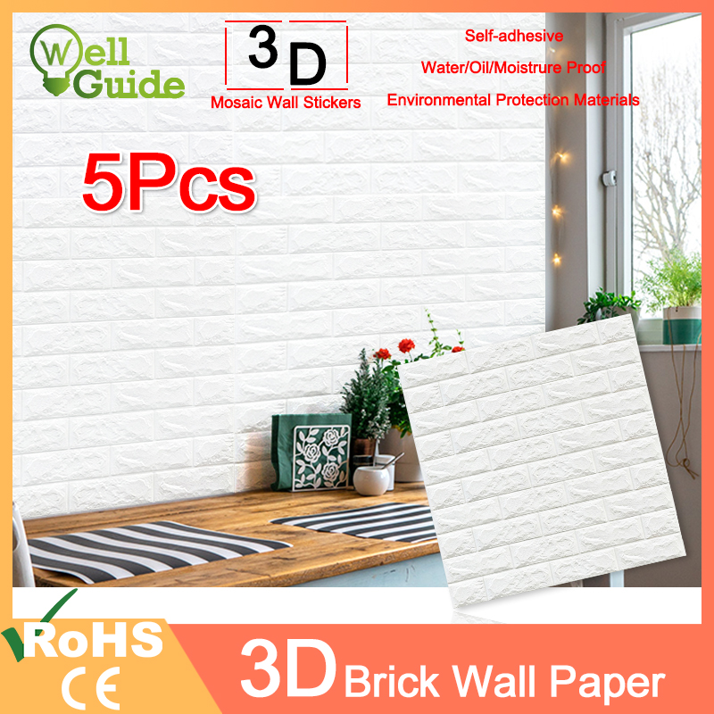 1pc/5pcs 3D Wall Paper Brick Wall Stickers Waterproof DIY Self-Adhesive Decor For Bedroom Kids Room Living Room Wallpaper Paper