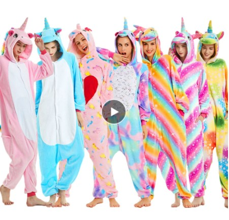Flannel Adult Animal Pijama Unicorn Pajamas For Women Unisex Homewear Totoro Pikachu Soft Comfortable Sleepwear Hooded Onsie