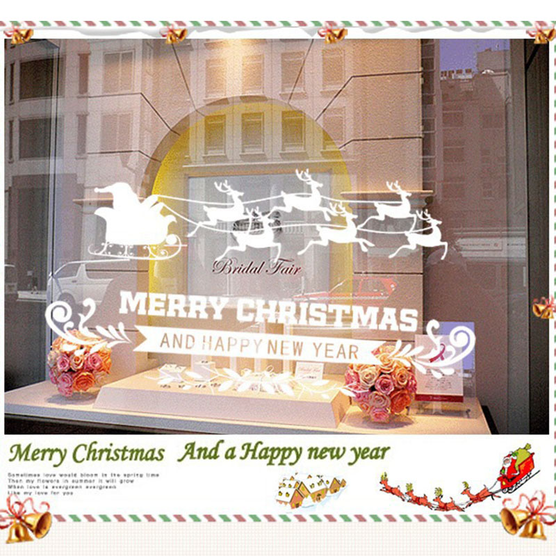 decorative and attractive Christmas Home Shop Display Wall Sticker Deer Glass PVC Removable 50*70cm image