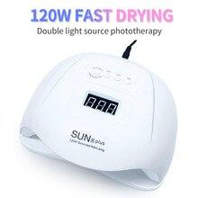 120W UV LED 램프 네일 건조기 36 PCS LED 듀얼 광원 네일 램프 치료 UV 젤 매니큐어 센서 타이머 LCD 디스플레이