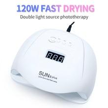 Lámpara LED UV de 120W para secado de uñas, lámpara LED de doble fuente de luz para curado de esmalte de uñas de Gel UV con Sensor, temporizador, pantalla LCD, 36 Uds.