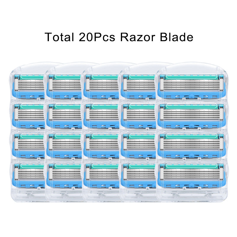 Men Manual Shaving Razor Blades 5 Layers Stainless Steel Replacement Heads For Gillettee Fusione 20pcs/Pack Shaving Cassettes 14