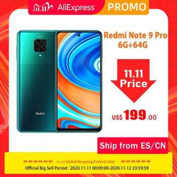 Global Version Xiaomi Redmi Note 9 Pro Smartphone 6GB RAM 64GB ROM Snapdragon 720G Octa Core 64MP Camera 5020 mAh Cellphone