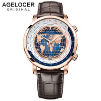 AGELOCER Men Watch Swiss Luxury Brand Worldtime Automatic Mechanical Men's Wirstwatches Sapphire Leather World Time relogio