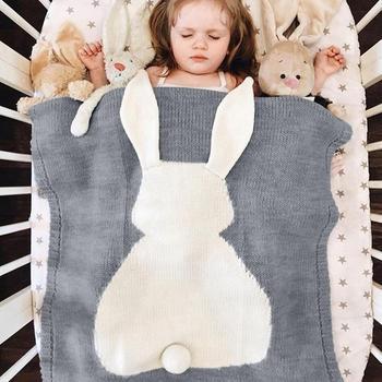 Baby Rabbit Blanket Knitted Newborn Wrap Blankets Super Soft Infant Bedding Quilt For Bed Sofa Basket Stroller Blankets baby blankets newborn flannel swaddle wrap blanket super soft toddler infant bedding quilt for bed sofa basket stroller blankets