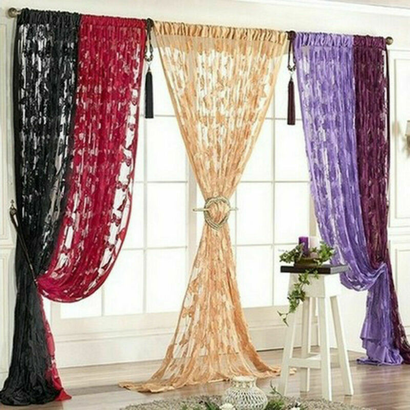 2020 Newest 1 Piece Lace Net Curtain Butterfly String Room Window Tassel Panel Decor New 1*2M Butterfly Line Curtain