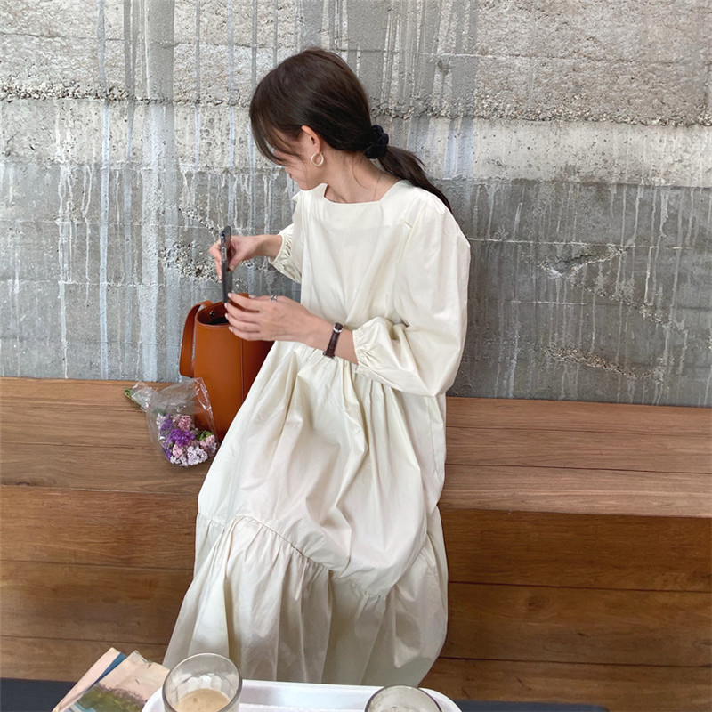 H4eb286acd68b489182a3bd7f790534831 - Spring / Autumn Square Collar Long Lantern Sleeves Loose Solid Midi Dress