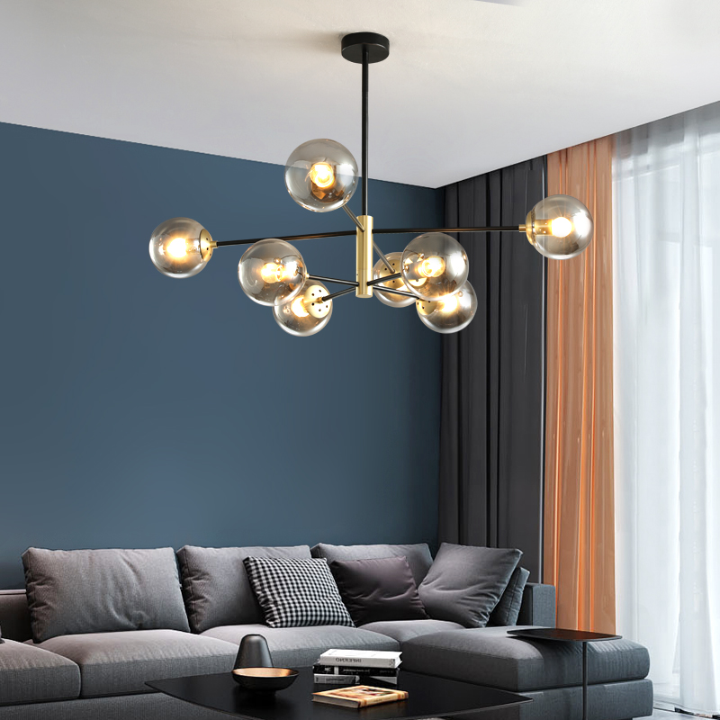 Glass Ball Bubbles Chandelier for Living room Bedroom Kitchen Black Chandelier indoor home lustre suspended luminaire