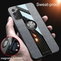 Ultra-sottile Supporto Magnetico Cassa Del Telefono Del Panno Per Samsung Galaxy S20 S10 E S9 S8 Nota 20 10 Lite 9 8 più Tessuto di Lusso Della Copertura Del Silicone