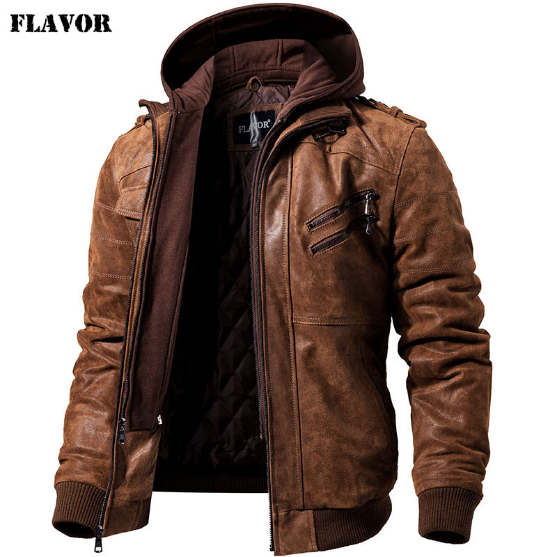 Winter Coat Jacket Removable Motorcycle Real-Leather Warm Hood Men's