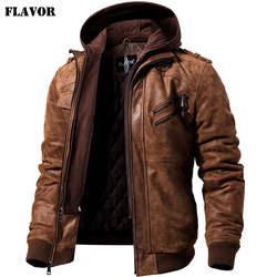Kожаная куртка мужская натуральной кожи, Мужская мотоциклетная зимняя куртка со съемным капюшоном, мужские теплые куртки из натуральной