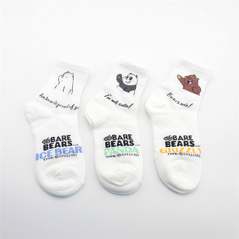 Kawaii We Bare Bears Women Socks Korean Casual Harajuku Funny Breathable Socks Calcetines Mujer