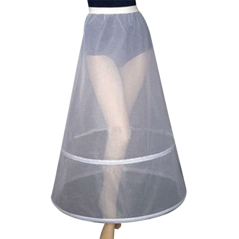 Women Bridal 2 Hoops A-Line Ankle-Length Full Slip Petticoat Tutu Bride Dress Bridesmaid
