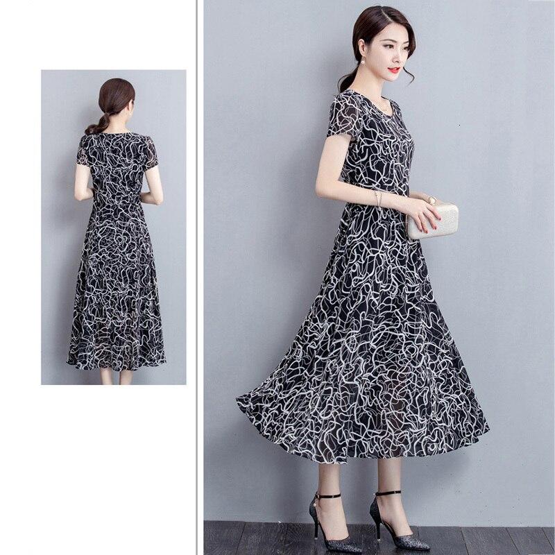 Grande taille 5XL 2019 nouveau été imprimer fleurs robe femmes col en V court Mouwen mousseline de soie bohème robes plage femmes longue robe - 2
