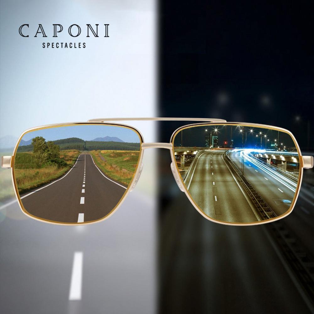 CAPONI Condução Óculos Polarizados oculos lentes Fotocromáticas Óculos De Sol Para Homens Condução óculos de visão Noturna óculos de sol hombre BSYS8002