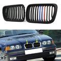 Decoratie Voor BMW E36 3 Serie M3 1997 1998 1999 Auto accessries Racing Grills Voor Matte Zwart M Stijl Nier grille Grill
