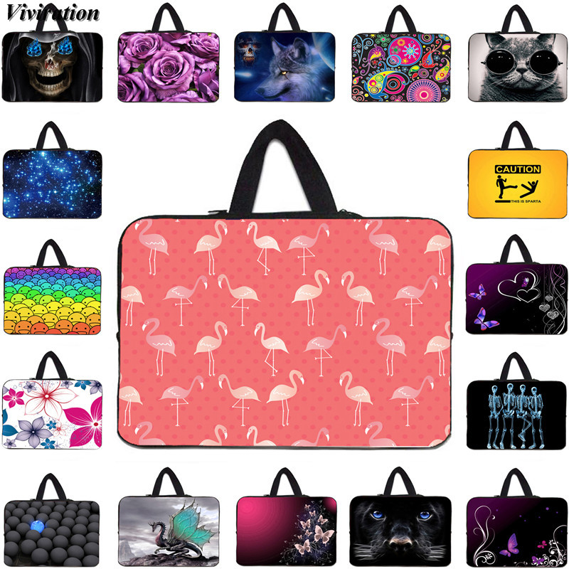 Pretty Flamingo Prints <font><b>Funda</b></font> <font><b>Portatil</b></font> <font><b>15.6</b></font> 15 10 12 13 14 17 17.3 Laptop Computer Bag Fasion Women Carrying Handbag Notebok Case image