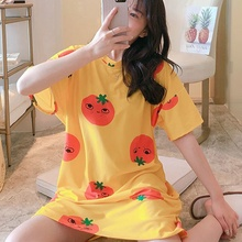 Women Short-sleeved Nightdress Female Summer Spring Thin Section Loose Home Service Long Nightdress new pyjamas women s summer mesh double layer solid color lace princess short sleeved nightdress large size home service d180111