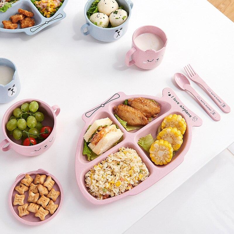 Baby Bowl+spoon+fork Feeding Food Tableware Set Cartoon Kids Dishes Eating Dinnerware Anti-hot Wheat Straw Training Plate