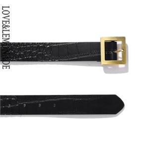 Image 3 - LOVE&LEMONADE Popular Geometric Metal Black PU Belt  ACC0027