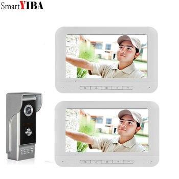 SmartYIBA Night Vision With HD 700TVL Camera Doorbell Home Apartment Entry Kits LCD White Monitor Video Door Phone Intercom