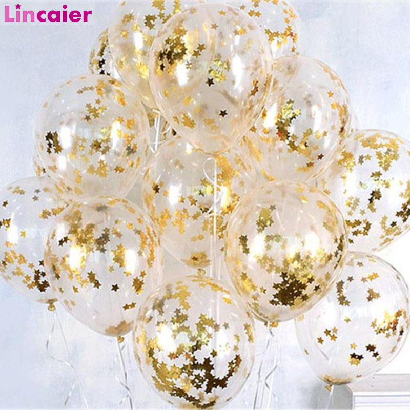 <font><b>100pcs</b></font> Clear Balloons Gold Star <font><b>Foil</b></font> Confetti Transparent Latex Helium Balloons Birthday Party Decorations Kids Adult Wedding image