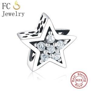 FC Jewelry подходит для оригинальных браслетов Pandora, 925 пробы, серебряная звезда, Микс, CZ камень в небе, бусины для изготовления Berloque, 2018, подарок