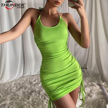 Summer Club Vacation Birthday Party Camis Dress Women Sexy 2020 Spring Fashion Solid Color Skinny Kawaii Mini Wrap Dress