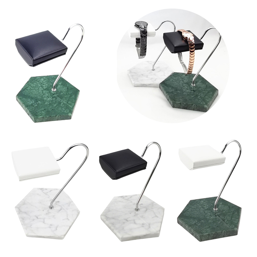 Marble Base & PU Watch Display Stand for Shop or Personal Use Jewelry Organizer T Bar Stand Necklace Watch Stand Holder