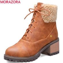 MORAZORA 2020 ใหม่มาถึงฤดูหนาวหิมะรองเท้าผู้หญิงLace UpรอบToeสแควร์ส้นรองเท้าfauxขนสัตว์แฟชั่นข้อเท้ารองเท้าผู้หญิง