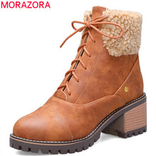 MORAZORA 2020 new arrival zimowe buty śniegu kobiety zasznurować okrągłe toe kwadratowe obcasy obuwie faux futro moda botki kobieta