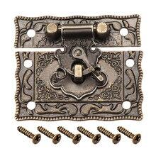 Uxcell деревянный ящик сундук прямоугольная застежка защелка бронзового оттенка 51x42 мм