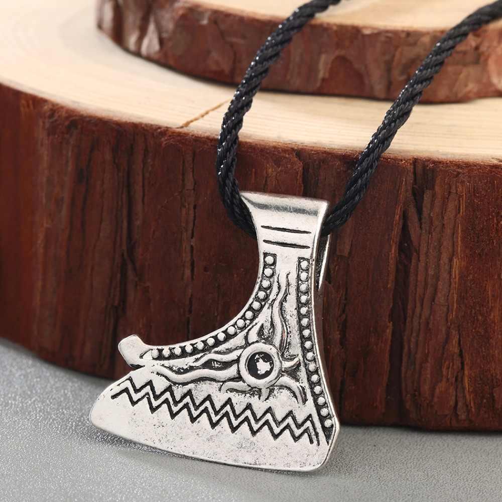 QIMING vikingo joyería Axe collar mujeres vikingo collares Perun colgante Vintage Axe cuero collar hombres joyería Accesorios