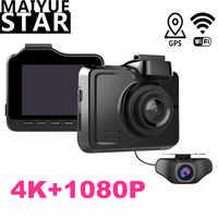 Maiyue completa estrella HD 1080P del coche DVR de verdad 4K 3840*2160 p 30fps cámara incorporada WIFI GPS Cam cámara trasera multifunción grabadora