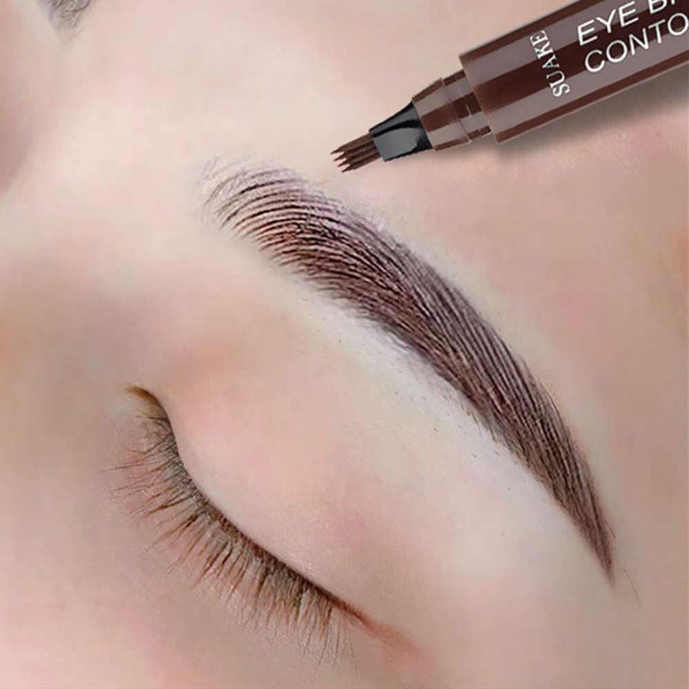 Hot Selling Eyebrow Pen Waterproof 4 Fork Tip Eyebrow Tattoo Pencil Long Lasting Professional Brown Black Liquid Eye Brow Pencil