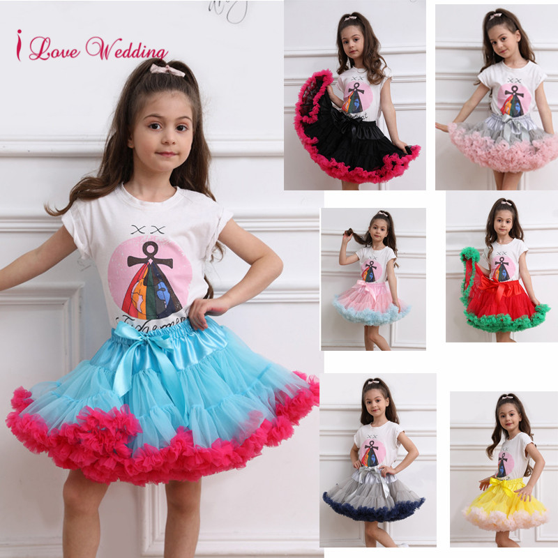 New Arrival 2020 Child Petticoat Mnini Tutu Skirt Ball Gown Dance Two Colors Splice Short Puffy Little Girl Tulle Skirts