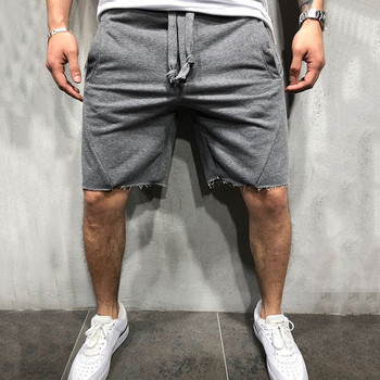 mens sweat shorts wild style solid color ripped shorts