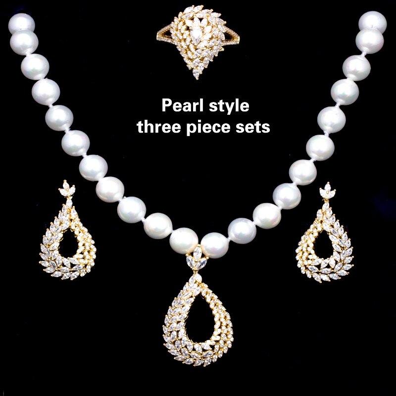 Zircon cubique bijoux colliers anneaux boucles d'oreilles 3 pièces ensembles de perles de mariée à la mode et de luxe pour les femmes de mariage et de fiançailles