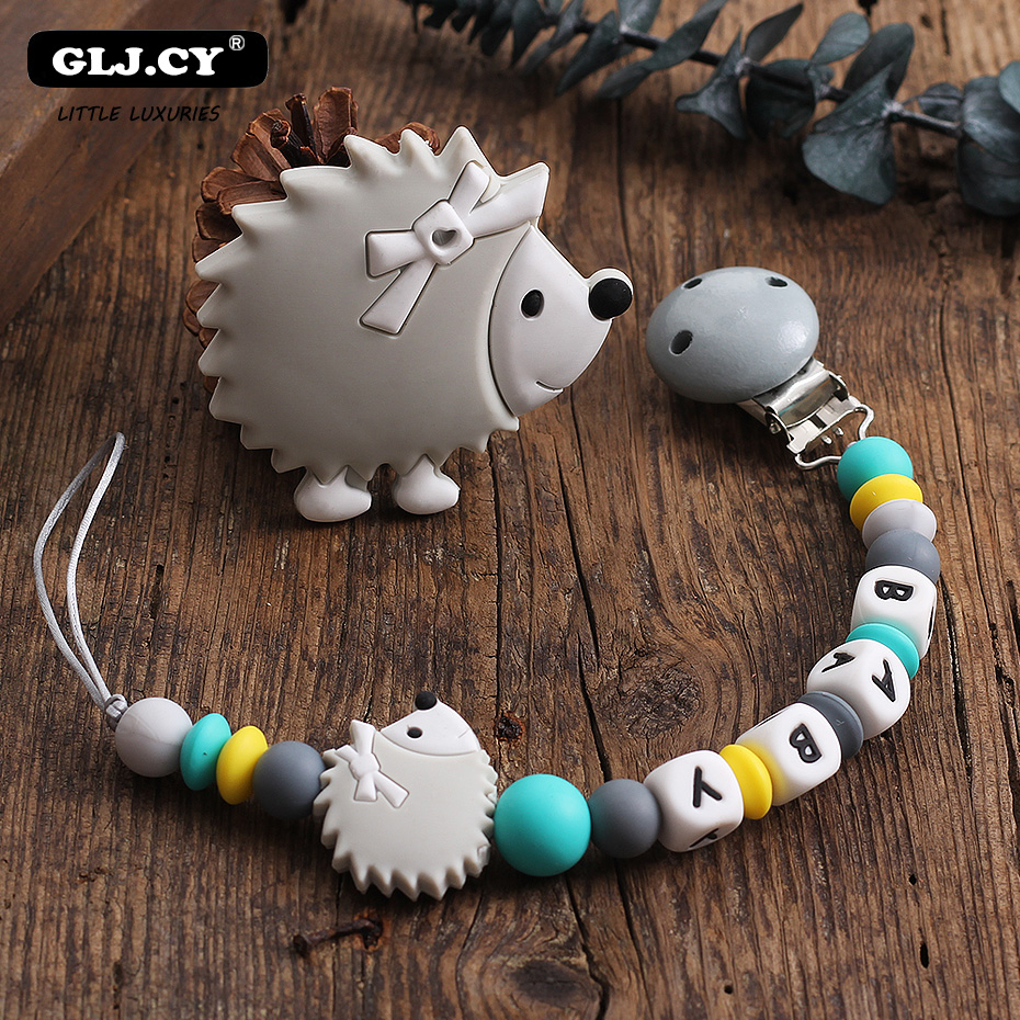 Baby Pacifier Clip Chain Hedgehog Silicone Pendant Teether Beads Holder For Infant Nipple Bottle Teething Toys Mordedor