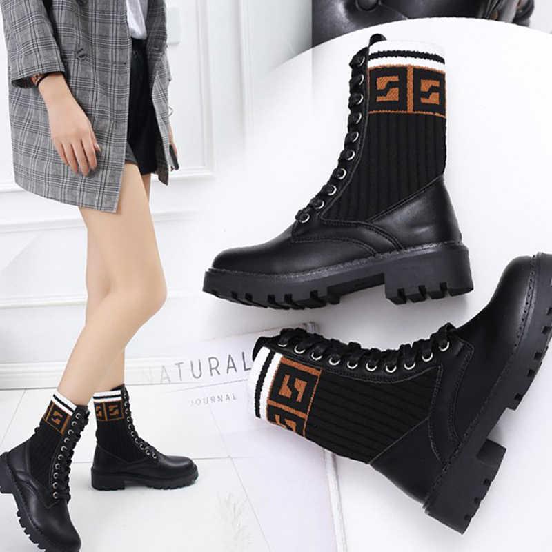 AUGTZM rahat deri orta buzağı çizmeler kadın ayakkabıları kadın ayakkabı platformu lace up naylon yuvarlak ayak marka bayan çorap kışlık botlar