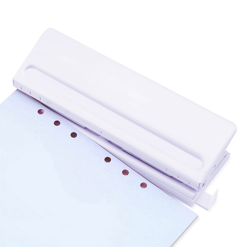 White 6 Hole Punch Loose-Leaf Standard Puncher Paper Adjustable Stapler Home Office Binding Supplies Student Stationery Equipmen