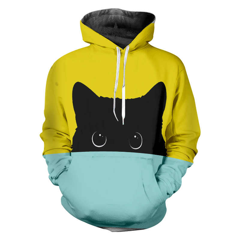 UJWI Yellow Blue Cute Cat 3d Hooded Sweatshirt Men/women Tracksuits Unisex Fashion Cool Pullover Harajuku Hoodies