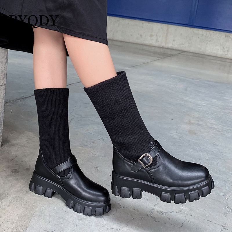 BYQDY/зимние теплые вязаные шерстяные ботильоны из искусственной кожи женские сапоги для верховой езды на толстом высоком каблуке ботильоны ...