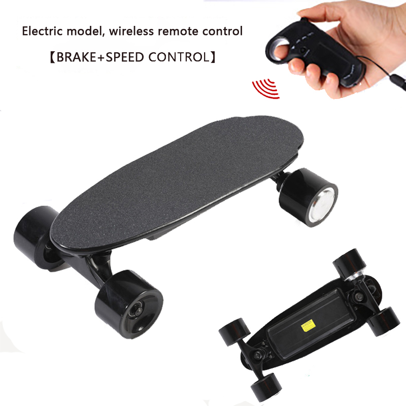 Electric Skateboard Max Speed 10km/h Sandpaper Skate Lightweight Portable Wireless Remote Control Mini Electric Skateboard 150W