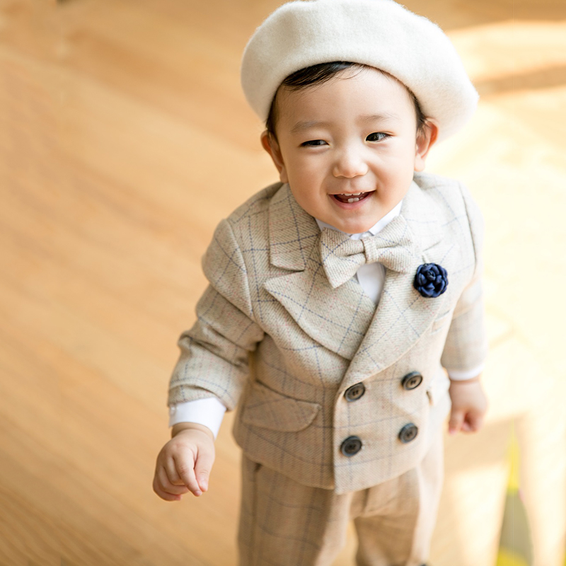 Boys Suit for Boy Costume Infant Garcon Mariage Boys Suits for Weddings Party Dress Khaki plaid Clothes sets baby boy clothing