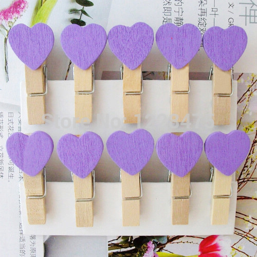 10pcs  Purple  Heart Wood Clips Mini  Paper Clip Wedding Wood Pegs